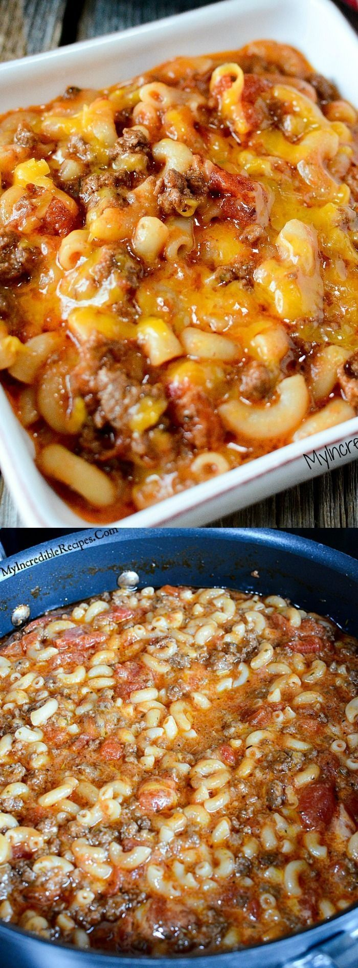 Old Fashioned Goulash - It's beefy, cheesy and filled with pasta goodness. It's the ultimate comfort food that a hungry family will gobble right up!