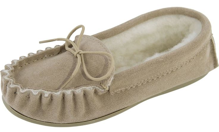 Womens / Ladies Genuine Suede Sheepskin Moccasin Slippers with Hard Wearing Sole / British Made: Amazon.co.uk: Shoes & Bags