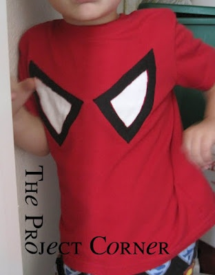 spiderman shirt-use glow in dark paint for whites of eyes