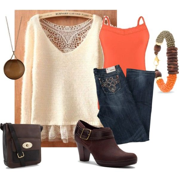 """""""Plus Size Orange and Brown Outfit"""" by intcon on Polyvore"""