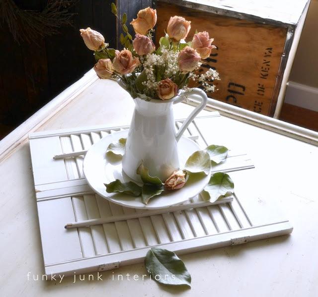 Funky Junk Interiors: A unique dried flower/shutter centerpiece with shutter linkup!