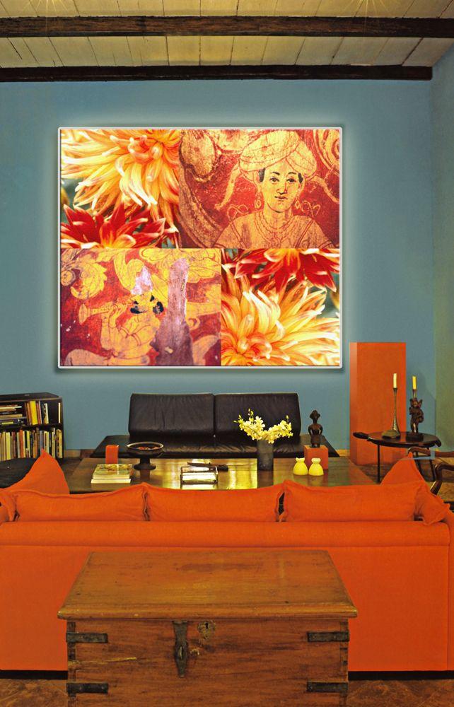"""Golden Flute Love"" by tela-design as a lightbox.  Frameless, seamless, shadeless. LEDs as well as tubes, up to 30 sqm. Also available as ceiling solutions and as an acoustic device: Sound absorbing backlit Solutions. ""Golden Flute Love"" von tela-design als Leuchtkasten.Rahmenlos, nahtlos, schattenfrei. LEDs und Röhren bis zu 30 qm. Auch als Deckenlösung mit akustischer Wirkung. Weiteres unter http://www.tela-design.de/produkte/funktion.html"