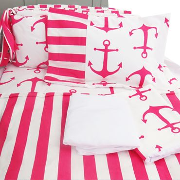 Anchors Away! This classic Pink anchor is accented with a beautiful rich White. The clean and crisp tone of white makes the perfect combination for this outstanding crib bedding collection. Perfect for your nautical themed nursery. #pinkAnchorsBabyCribBedding #girl #Nautical #marin #Anchor