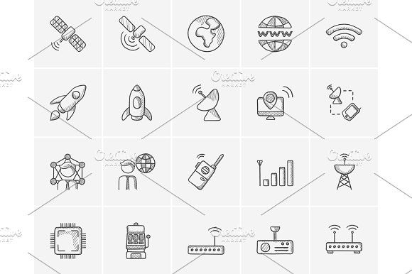Technology sketch icon set. by Vige on Creative Market