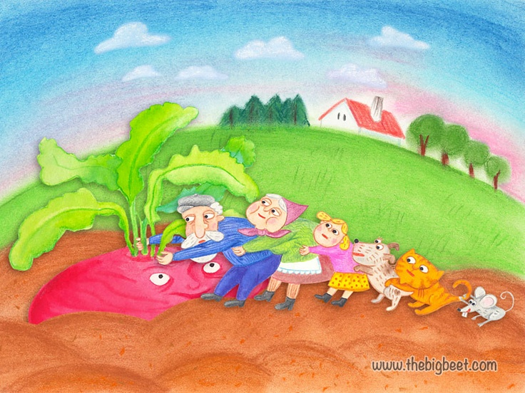 (13/14) So the mouse grabbed the cat, and the cat grabbed the dog, and the dog grabbed the granddaughter, and she grabbed grandma, and grandma grabbed grandpa, and grandpa grabbed the beet, and together they pulled and pulled.