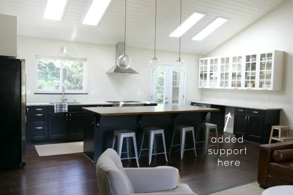 LOVE this kitchen. love the dark lower cabinets with white upper cabinets, love the pendant lights, love the giant island