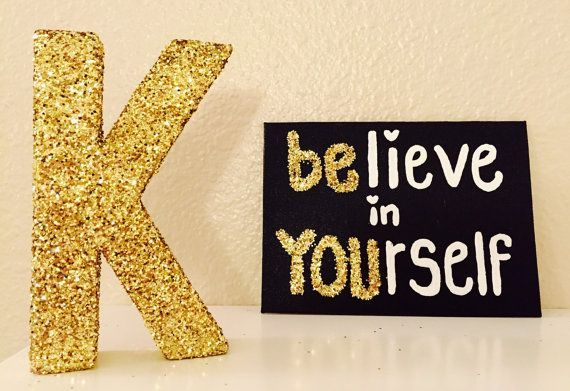 Believe in Yourself Canvas Black Canvas Gold by girlygifts07