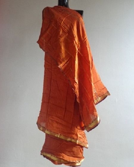 SARI ORANGE SOIE COTON INDE SECOND HAND SAREE SILK COTON INDIA