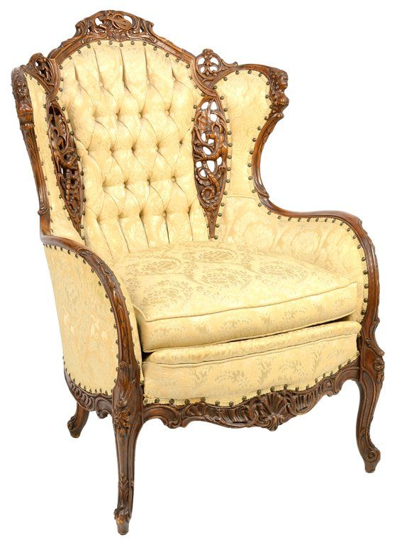 A VINTAGE AMERICAN TUFTED WINGBACK ARMCHAIR. 11/7, 7:30pm ~ Comfort + a little ventilation with that elaborate carving detail