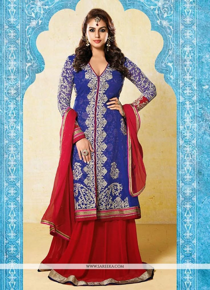 Navy Blue Resham And Embroidery Anarkali Suit