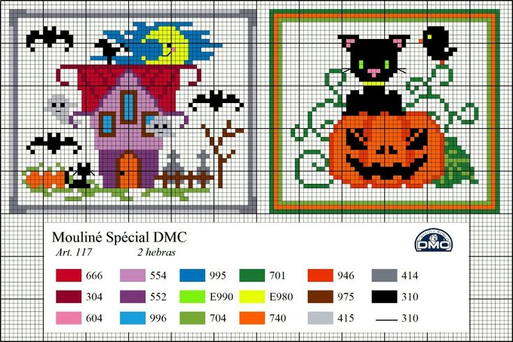 Dmc free pattern cross stitch Halloween haunted house pumpkin cute