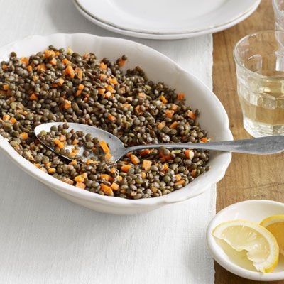 French Lentil Salad - This lentil recipe, is light, healthy, and incredibly simple. Serve alongside a green salad or with a piece of healthy protein, like grilled salmon, for a seriously protein-packed meal. #myplate #protein #vegetables