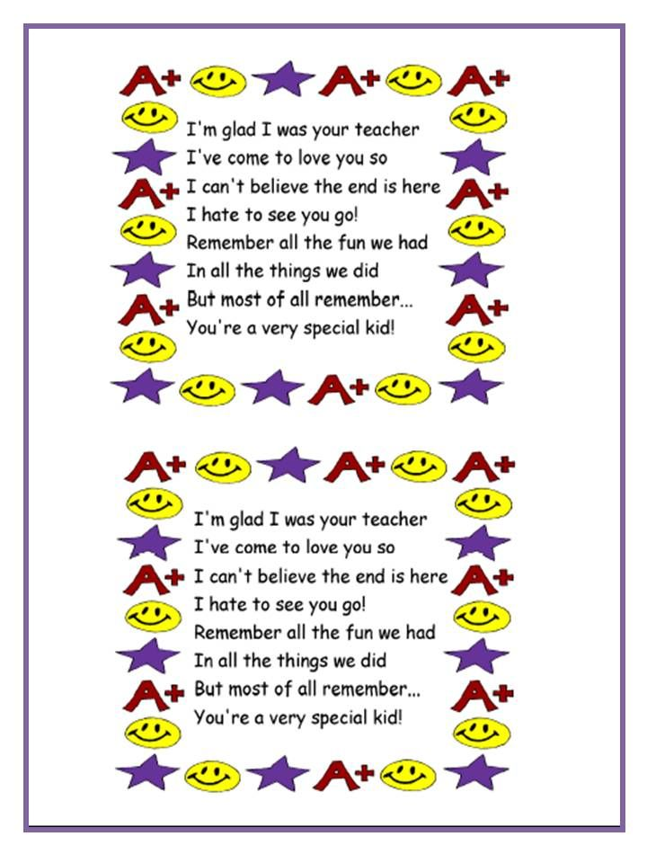 Teacher poems can be for students of different ages ...