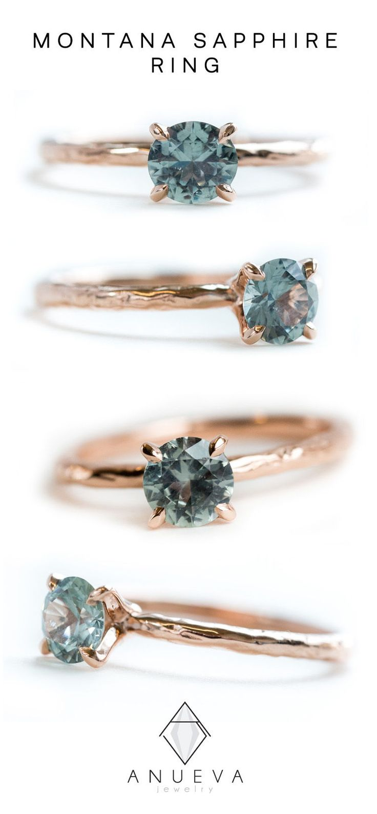0.78ct Light Blue Green Montana Sapphire Solitaire Ring – Organic Carved Rose Gold 4 Prong- Teal Mermaid Sapphire