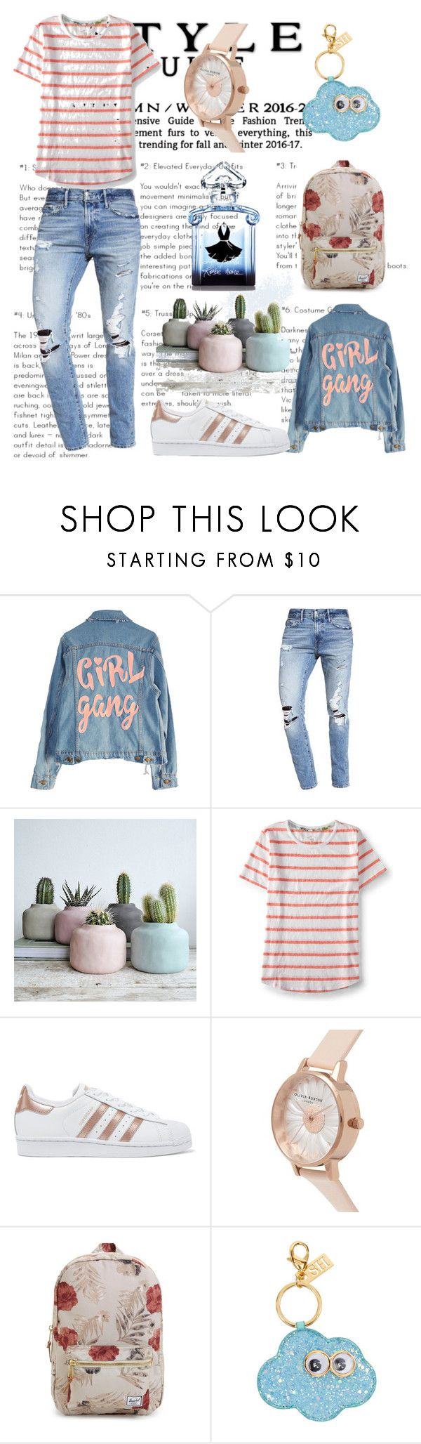 """""""Girl gang...cool, decontracted style !"""" by sha-shu on Polyvore featuring Abercrombie & Fitch, Aéropostale, adidas Originals, Olivia Burton, Herschel Supply Co., Sophie Hulme and Guerlain"""