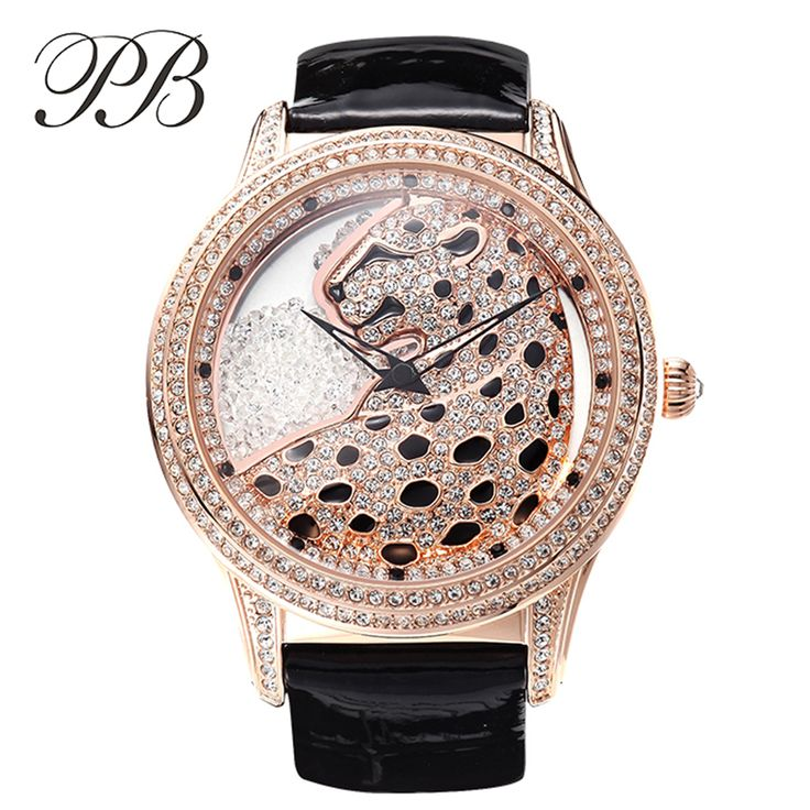 Find More Women's Watches Information about PB Brand Luxury Women Austrian Crystal quartz watch Top Leopard Diamond Watch Ladies Genuine Leather Wristwatches reloj mujer,High Quality leather book cover pattern,China leather band mens watches Suppliers, Cheap leather watch cover from YIKOO Watches Store on Aliexpress.com