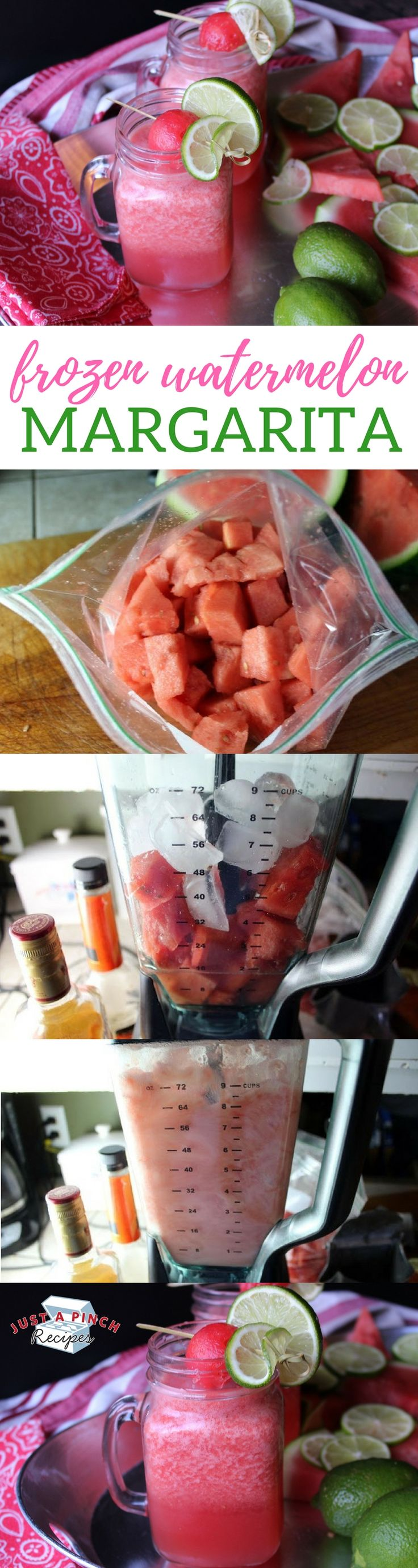 This is the perfect summer drink! We love this easy frozen watermelon margarita!