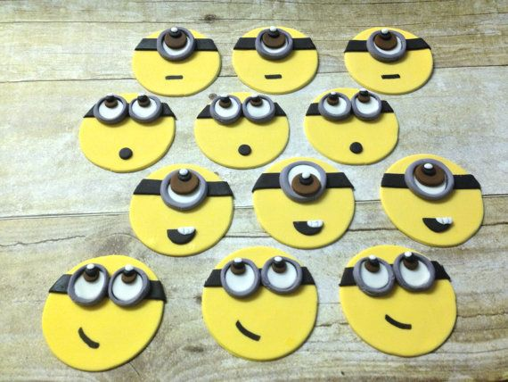 12 Edible Fondant Minion Inspired Cupcake Toppers. These are handmade with tasty fondant. You will receive: 12 Fondant Minion Inspired Toppers Please include the date you need it and colors needed. Custom orders are always welcome please convo me Place orders at least 3 weeks before due date. There may be a rush order fee of $10 for orders purchased less than 2 weeks before due date. Fondant toppers need to be made and allowed to dry for a few days before they can be shipped I can someti...