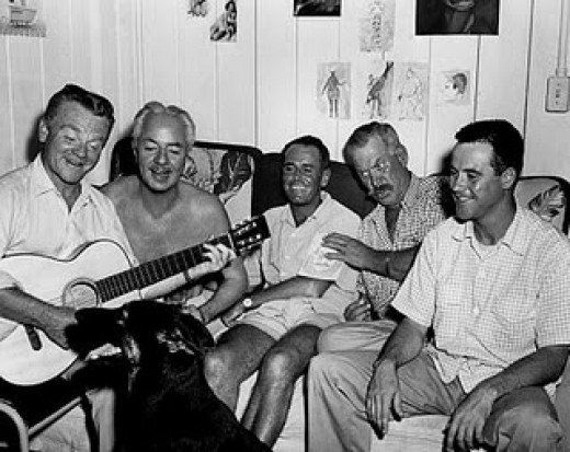The cast of MR. ROBERTS: James Cagney, William Powell, Henry Fonda, Ward Bond and Jack Lemmon