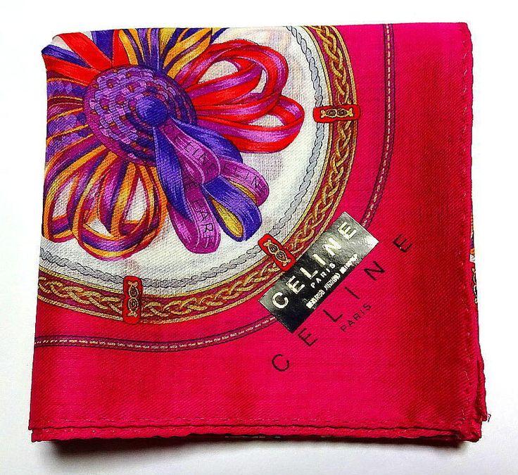 CELINE Handkerchief Scarf Pocket square Pink Cotton Auth New Collectible RARE #Celine #DesignerArtist