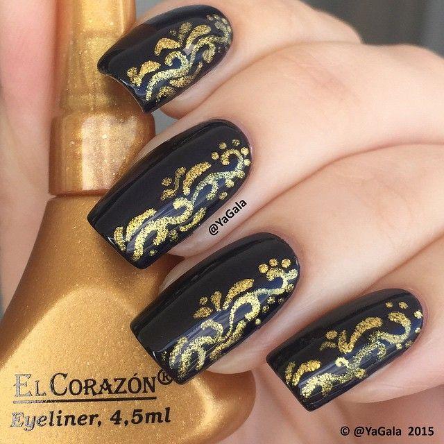 Black and gold ✨ ️El Corazon No878 black nail polish and gold liquid eyeliner ️El Corazon, top No434  @el_corazon_art_direct  @el_corazon_shop  Elcorazon-shop.com . . Черное с золотом ✨ Лак ️El Corazon No878 и золотая жидкая подводка для глаз, топ No434 @el_corazon_art_direct  @el_corazon_shop  Elcorazon-shop.com