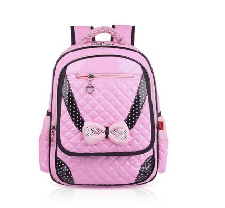 Pink Quilted Girl School Backpack with Bowtie