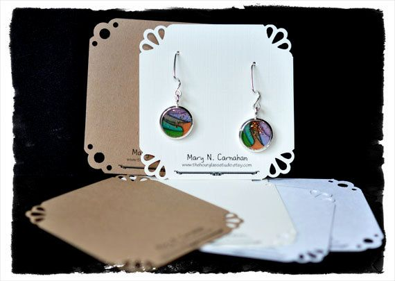 Custom Earring Card Jewelry Display Personalized Label Hang Tag Printed. $9.00, via Etsy.