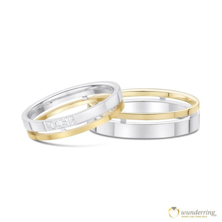 Eheringe mit Doppelt-Effekt: Getragen wirken sie wie ein weißer RIng mit einem feien Goldring kombiniert. #Trauringe #Hochzeit