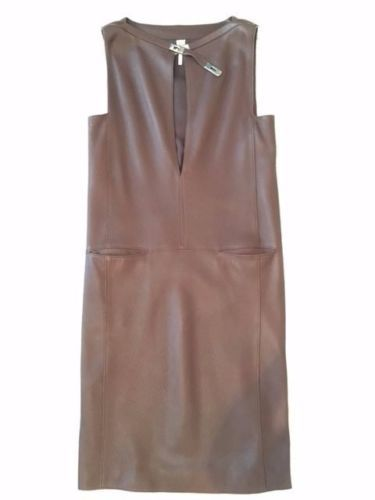 HERMES-BROWN-DEER-SKIN-DRESS-w-KELLY-LOCK-COLLAR-SZ-40-ABSOLUTELY-GORGEOUS