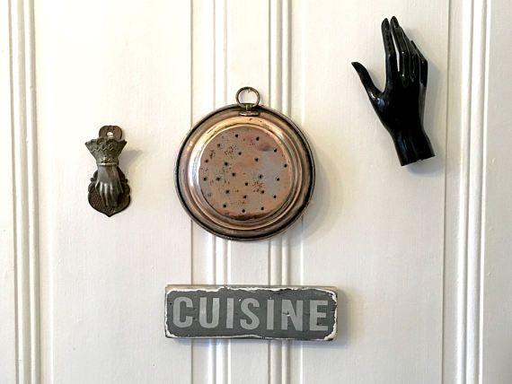Antique French Small Copper Colander Strainer , Kitchen Decor , utensils , Cookware , Tin Lining , rustic decoration, Français , Vintage