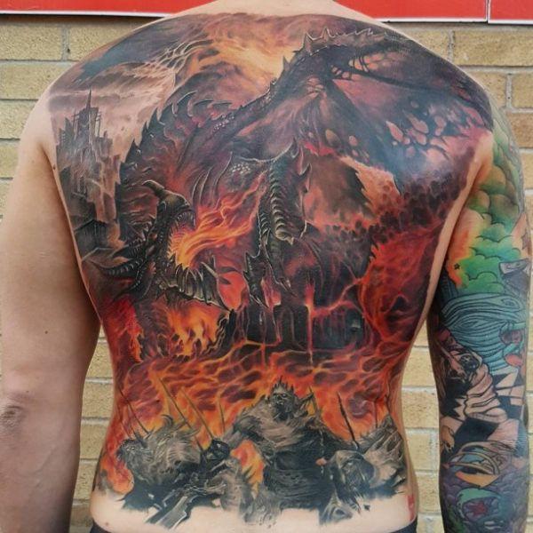 Fire Dragon Tattoo Back  - http://tattootodesign.com/fire-dragon-tattoo-back/  |  #Tattoo, #Tattooed, #Tattoos