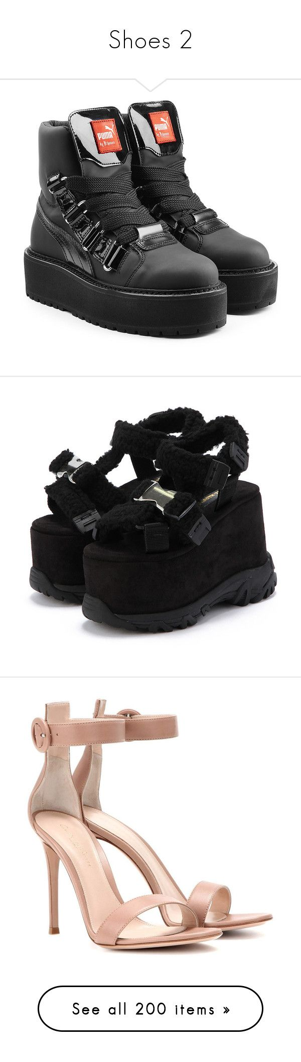 """""""Shoes 2"""" by lutizzlle ❤ liked on Polyvore featuring shoes, boots, ankle booties, black, black booties, laced up boots, black laced booties, puma boots, leather ankle booties and sandals"""