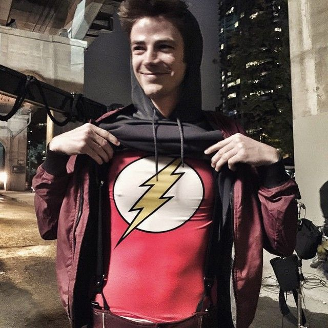 This is what I'm wearing under my Flash suit to keep warm for this night shoot. #TheFlashSeason2