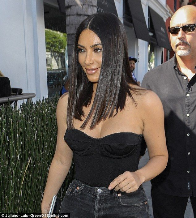 Sharp cut:Kim's angular look instead started at shoulder length and then finished a just ...