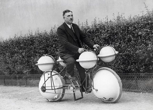 Amphibious bicycle    This land-and-water bike can carry a load of 120 pounds; Paris, 1932