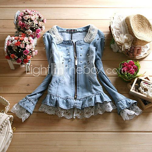 Women's Pearl Collar Lace Casual Denim Jacket - USD $29.99