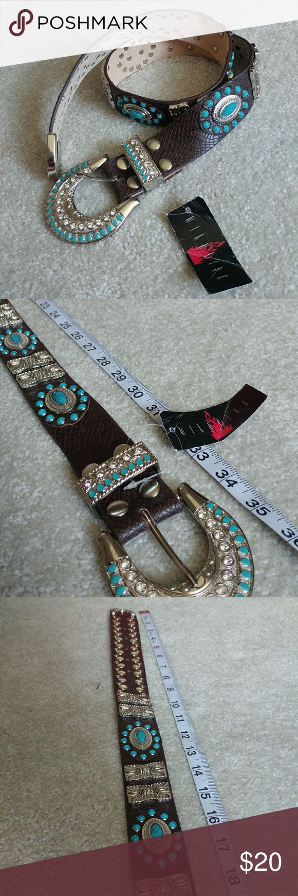 WESTERN BLING BELT 2 bling belts new with tags. Very well made! Will bundle for savings! Measuring the entire strap one is 34 and one is 36. wildfire Accessories Belts