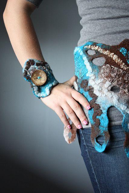 Textile Cuff Bracelet Wristband Brown Beige Blue Nuno Felt Merino Wool Silk yarn lace coconut buttons | Flickr - Photo Sharing!