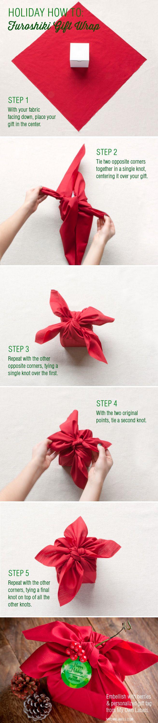DIY Furoshiki Gift Wrap - fun way to wrap a Mother's Day present.