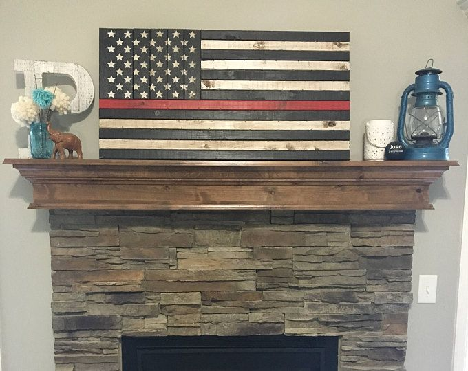"37""x19.5"" Rustic Thin Red Line Flag"