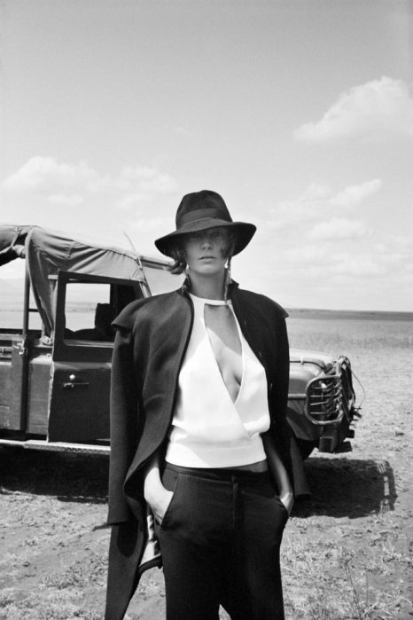 safari   outback   desert   black & white fashion editorial   jeep   4WD   glamour   dry arid landscape   via The Libertine Magazine. Daria Werbowy By Cass Bird For The Maiyet Campaign. Fall 2012.12
