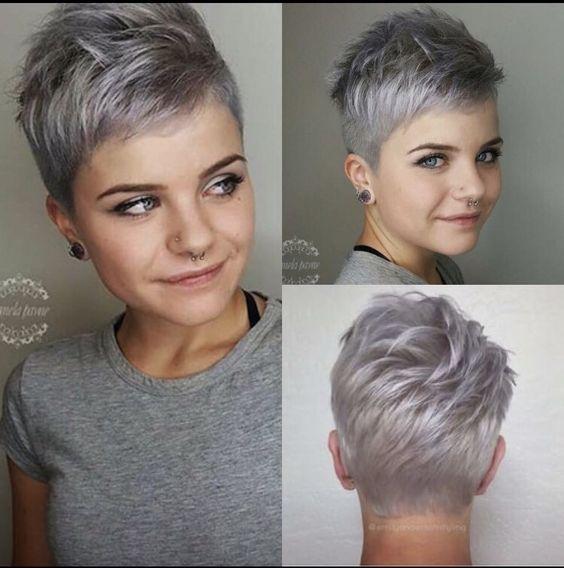 Coupes courtes modernes cheveux blancs