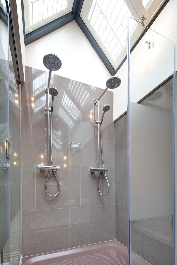 Double shower, upstairs in our Newbrook loft.