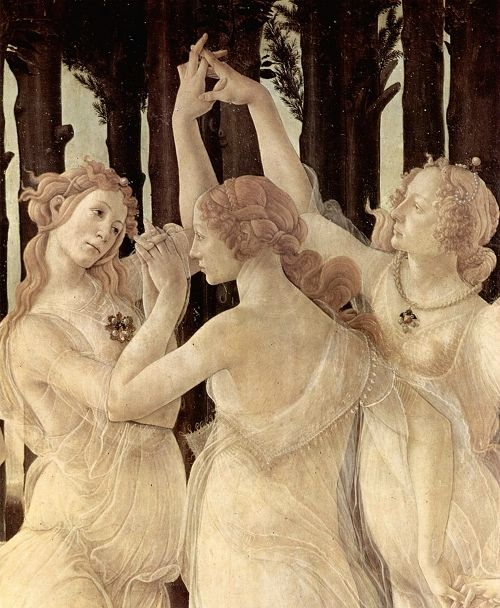 The Three Graces   (detail from Botticelli's Primavera)   Also known as Allegory of Spring, is a tempera panel painting by Italian Renaissance artist Sandro Botticelli. Painted ca. 1482. http://en.wikipedia.org/wiki/Primavera_(painting)