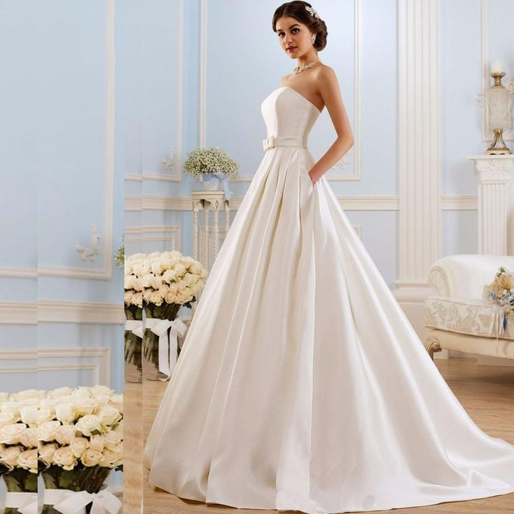 Satin Vintage A Line Wedding Dress with Pockets Backless Bridal Gown
