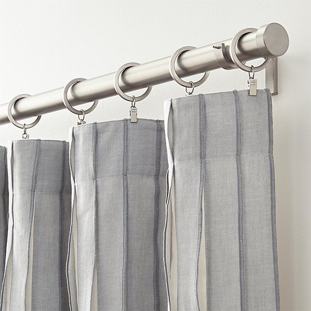 Kendal Grey Striped Curtains | Crate and Barrel