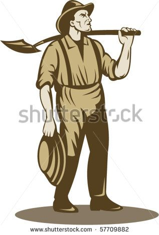 vector illustration of a Miner, prospector or gold digger with shovel standing front isolated on white #golddigger #retro #illustration