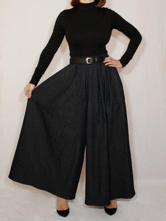 6f8da91a92d Denim pants Black palazzo pants skirt for women Custom pants