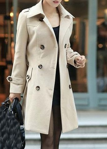 Vogue Double Breasted Turndown Collar Trench Coat – teeteecee - fashion in style