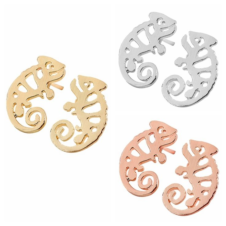 New Fashion Chameleon Iguana Shaped Animal Stud Earrings for Women Party Gift S100